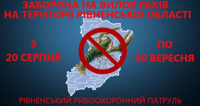 З 20 серпня на водоймах Рівненщини розпочалася заборона на вилов раків